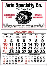 3-Months-In-View Half Apron Calendar with 2-Color Red-Black Imprint 20.5x28.55