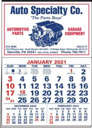 3-Months-In-View Half Apron Calendar with 2-Color Red-Blue Imprint 20.5x28.55