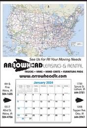Mid Size U.S. Map Calendar w 12 Month Pad 17x25