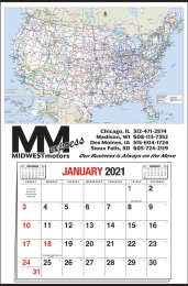 Large Full-Apron Calendar with U.S.A. Map and 12 Month Pad, Size 25x38