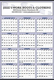 Large Year-In-View Planner Calendar 27x39 Blue & Black