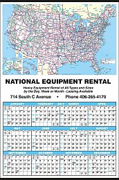 Large Year-In-View with U.S.A. Map Calendar 25x38