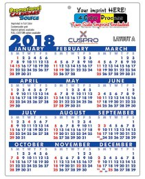 Laminated Plastic Calendar Grid A, Size 8.5x11 with Full-Color Imprint Two Sides - 14 pt.