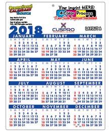 Plastic Calendar, Size 8.5x11, Full Color Imprint 2-Sides, 30pt.