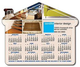 House Shape Magnetic Calendar 4.25x3.5 25 mil.