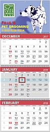 3-Month View 4 panels Calendar, Spiral binding, Week Numbers, 13x33, Stock Grid