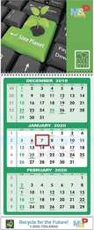 Custom 3-Month Per Sheet Calendar 11x27.5
