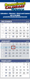 Custom 3-Month View Promo Calendar, Four Panels, 13x33, Large Week Numbers