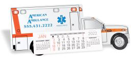 Ambulance Die Cut Desk Calendar - Heavy chipboard construction