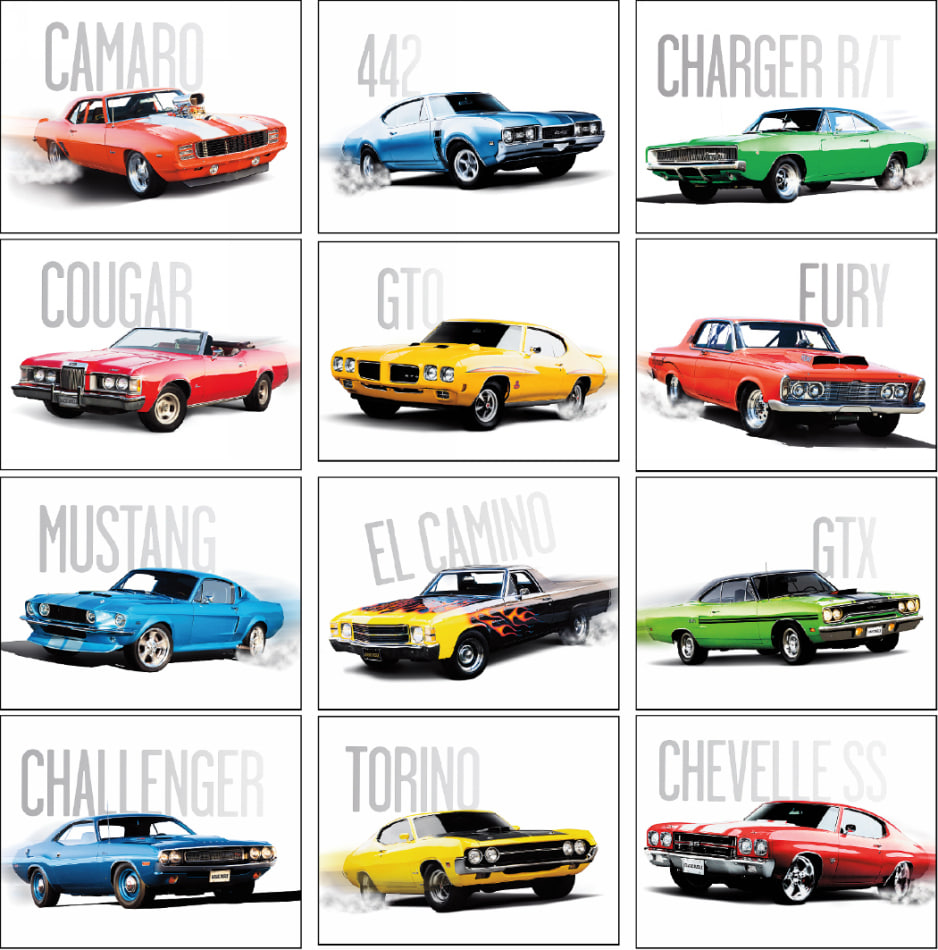 Classic Muscle Cars, the cars in this calendar have sleek lines ...