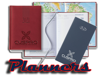 desk & pocket, monthly & weekly promotional planners with custom imprint